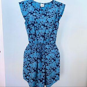 CABI Blue Floral Tie Waist Sleeveless Dress SZ S